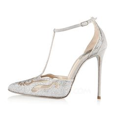 [US$ 72.49] Women's Suede Stiletto Heel Closed Toe Pumps With Rhinestone (047086284)