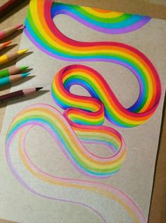 Drawing Techniques Rainbow Practice - WIP by dannii-jo - Amazing Drawings, Pencil Art Drawings, Cool Art Drawings, Realistic Drawings, Colorful Drawings, Art Drawings Sketches, Amazing Art, Horse Drawings, Drawing Ideas