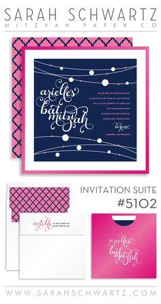 modern bat mitzvah invitation suite with hot pink and navy | www.sarahschwartz.com/blog | Bat Mitzvah Invitation Suite 5102