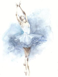 Original watercolor painting ballerina dancing ballet girl