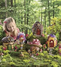 Create a wondrous fairy garden with HearthSong's magical fairy village! Choose from 5 handcrafted fairy houses & matching fairies to create your own fairy land. Fairy Garden Houses, Gnome Garden, Fairies Garden, Diy Fairy House, Hobbit Garden, Fairy Gardening, Garden Bed, Fairy Village, Village Houses