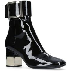 Roger Vivier Podium Boots (1,450 CAD) ❤ liked on Polyvore featuring shoes, boots, ankle booties, patent leather booties, block heel boots, patent booties, patent leather boots and buckle boots