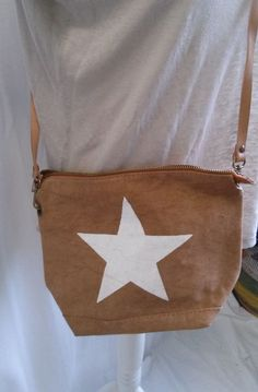 Made in Italy* Canvas Tasche mit Ledertrageriemen, camel