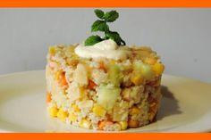 KUS-KUS (cous - cous) s kuracím mäsom a zeleninou. Krispie Treats, Rice Krispies, Couscous, Grains, Pudding, Vegetarian, Dishes, Desserts, Food