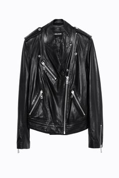 Zadig & Voltaire smooth leather jacket, front zip, high collar, zip pockets, decorative snaps, zip at cuffs, brushed silver detailing, skull print body lining 100% cotton, jacket 100% lambskin.