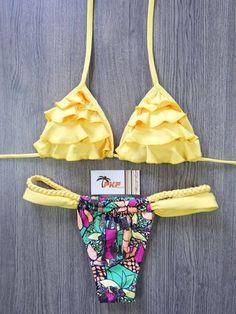 6c38e4a0a Biquíni - busto cortininha de babado com bojo removível e calcinha  cortininha duas tiras Moda Praia
