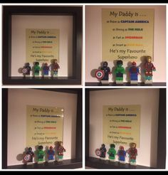 Minifigure Frame For Dad Made By FigureThatBox, Picture Frames, Superhero, Superhero Pictures, Lego, Gifts, Gift Ideas, Photo, Frame, Fathers Day,