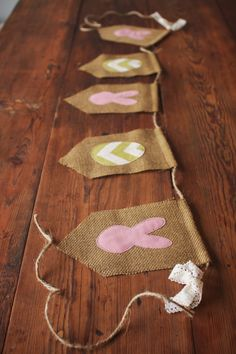 Burlap Easter Banner, Chevron Eggs and Bunnies- Ready to Ship. $28.00, via Etsy.