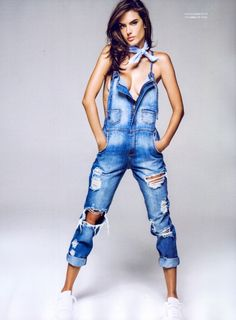 Alessandra Ambrosio is denim-clad as she poses in the summer 2016 issue of Dafiti Magazine