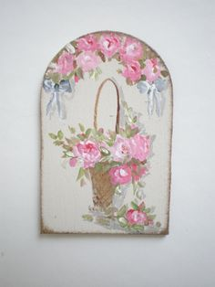 Roses in Basket  with Swag Painting  by cinderellamoments on Etsy, $6.00 sold