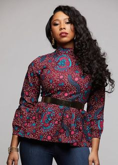 Subira African Print Peplum with Bowtie (Pink/Teal Ditsy)- Clearance - Perspektive Designs - Women Modern African Clothing, African Print Clothing, African Print Fashion, Latest African Fashion Dresses, African Dresses For Women, African Attire, African Tops For Women, Ankara Tops, Fashion Models