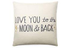 """One Kings Lane - Pillow Talk - """"To The Moon"""" 20x20 Pillow, White"""