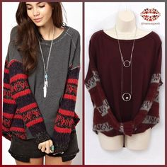 """FREE PEOPLE SWEATSHIRT WITH KNITTED PANELS French terry in maroon color with knitted burgundy and grey panels. Oversized, """"high low"""" look. Unfinished hem and ribbed cuffs. Payed close to 180$. Measurements: Length front: 25""""; back: 28"""". Armpit to armpit: 27"""" (works for M and L). 43% cotton, 35% acrylic, 3% wool, 7% rayon and 1% alpaca. Very good condition. Pics of the Free People model feature different color of my item. Free People Sweaters Crew & Scoop Necks"""