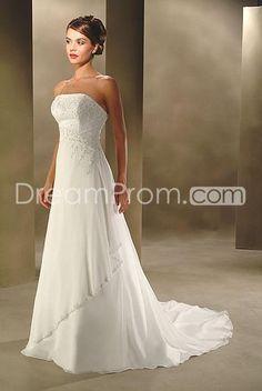 A Line Princess Strapless Chapel Train Satin wedding dress for brides 2010 style(WDA0019