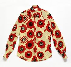 Man's shirt 'Poppy' of cotton muslin, designed by Ossie Clark, textile by Celia Birtwell, London, Museum Number Biba Fashion, Vintage Fashion, Celia Birtwell, Ossie Clark, Drag King, Dressed To Kill, Textile Design, Poppies, Shirt Designs
