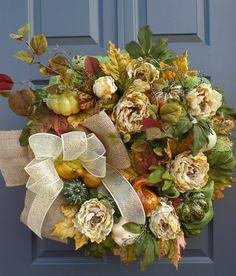 fall wreath, autumn wreath, thanksgiving wreath, holiday wreath, deco mesh wreath by Celestialwreaths on Etsy