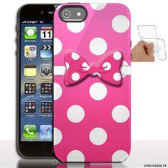 Étui iphone 5 en Silicone personnalisé Noeud Rose - Coque souple - Gel - Pour Apple iPhone 5s, iPhone 5. #accessoire #iPhone5 #etui