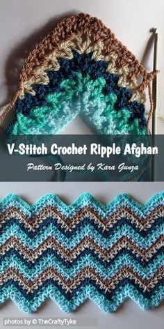 V-Stitch Ripple Afghan by Kara Gunza. She decided to put a contemporary twist on… V-Stitch Ripple Afghan by Kara Gunza. She decided to put a contemporary twist on an old classic with this ripple afghan pattern. Crochet Stitches For Blankets, Crochet For Beginners Blanket, Crochet Stitches Patterns, Free Crochet Afghan Patterns, Free Pattern, Baby Afghan Patterns, Beginner Crochet, Knitting Stitches, Knitting Patterns
