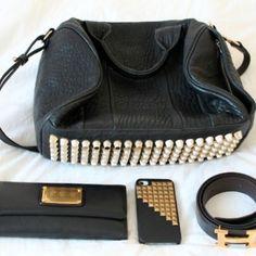 Alexander Wang Rocco bag and black and gold Hermes belt