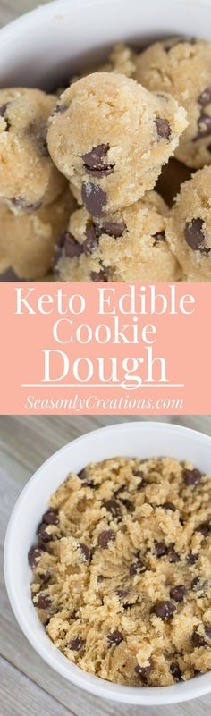 Keto Edible Cookie Dough {Gluten Free Recipe, Chocolate Chip} Ready for a homemade snack to fuel your busy day? I'm sharing this super simple Keto Edible Cookie Dough Recipe {Gluten-Free BTW!) that is no-bake that you can make in 15 minutes or less! Just 2.4g net carbs per serving. Low Sugar Desserts, Easy No Bake Desserts, Strawberry Desserts, Keto Desserts, Keto Snacks, Yummy Snacks, Delicious Food, Keto Cookie Dough, Edible Cookie Dough