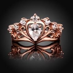 AnaZoz Jewelry Hers & Women's For Fashion Luxury Rose Gold Plated Round-Cut and Halo AAA+ Cubic Zirconia CZ Princess Crown Tiara Carved Heart Ring Engagement Wedding Band Top Rings Bridal Jewelry Set US Size 7 Crown Engagement Ring, Engagement Jewelry, Wedding Rings For Women, Wedding Sets, Wedding Band, Rings 2017, Beautiful Diamond Rings, Fashion Jewelry, Women Jewelry