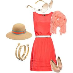 Coral hued Sunday, created by stylish-little-me on Polyvore