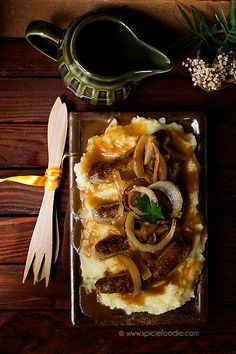Bangers and Mash with Onion Gravy | #british #sausage #mashed_potatoes
