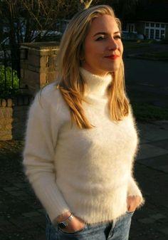 New Ladies Girls White Kitten-Soft Fluffy Angora Polo Neck Fluffy Sweater, Angora Sweater, Loose Sweater, Thick Sweaters, Cute Sweaters, Sweaters For Women, White Kittens, Polo Neck, Winter Dresses