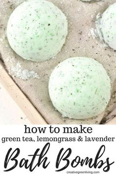This is the best bath bomb recipe! Learn how to make DIY bath bombs at home with essential oils. This recipe is a super easy way to learn how to make homemade bath bombs with lavender and lemongrass essential oils along with green tea. All the ingredients are natural - no artificial scents or preservatives! Would make an awesome gift idea for mom or a teacher. #essentailoils #bathbomb #bathfizz #DIYbeauty #greenbeauty #selfcare #sugarscrub