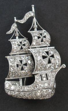 A platinum and diamond Caravel brooch, circa 1930.  #brooch #DiamondBrooches