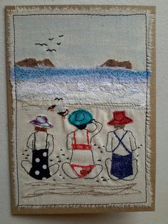 "This, that and everything inbetween: My ""free range"" art cards Freehand Machine Embroidery, Free Motion Embroidery, Embroidery Applique, Fabric Cards, Fabric Postcards, Small Quilts, Mini Quilts, Applique Patterns, Quilt Patterns"