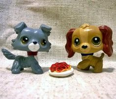 Disney Lady and the Tramp - OOAK Custom LPS Littlest Pet Shop - Handmade Hand Painted by MilkewayCreations on Etsy https://www.etsy.com/listing/223685653/disney-lady-and-the-tramp-ooak-custom