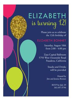 Glitzy Balloon Invitation  #Glitter #GirlsPartyInvitations #KidsBirthday
