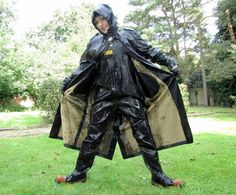 Raincoats For Women April Showers Heavy Rubber, Black Rubber, Firefighter Boots, Fishing Boots, Rain Cape, Latex Costumes, Green Raincoat, Rubber Raincoats, Rain Gear