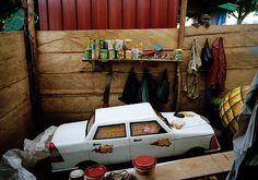 Coffins in Ghana: A coffin in the shape of a car in Accra, June 2005