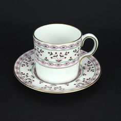 Royal Crown Derby Brittany Flat Demitasse Cup and Saucer,  1983 Stamp, Vintage Fine English Porcelain with Gold Gilding by LiliesLegacies on Etsy