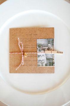 Cool idea for wedding meal menu...sweet! :)