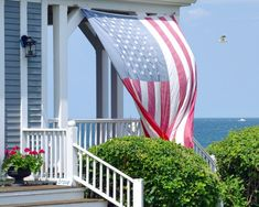 American Sea Breeze ocean view porch and flag Scituate MA I Love America, God Bless America, Usa Flag Images, Independence Day Pictures, Coastal Style, Coastal Living, Beach House Decor, Northern California, Night Life