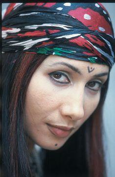 Kurdistan. A Kurdish girl with traditional tatoo and haed-shal from Dêrik province, Northern Kurdistan (The Kurdish artist Rojîn)