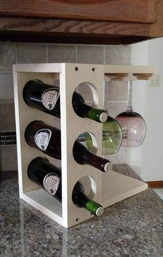 Wine rack with Stemware holder Countertop model Wood Pine or Countertop Wine Rack, Countertops, Awesome Woodworking Ideas, Multifunctional Furniture, Wood Wine Racks, Italian Wine, Dark Stains, Wine Storage, Tv Storage