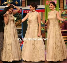 Anushka Sharma for ADHM Ae Dil Hai Mushkil promotions in Anita Dongre gown and long jacket on kapil sharma Long Jacket Dresses, Gown With Jacket, Shrug For Dresses, Indian Gowns Dresses, Pakistani Dresses, The Dress, Silk Jacket, Long Jacket Lehenga, Indian Party Wear Gowns
