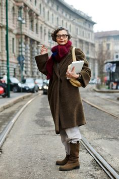 Renata Molho, Advanced Style, Journalist/ writer, author of Being Armani: A Biography, Costume National.  Funky yet comfortable hip looking older woman, boots