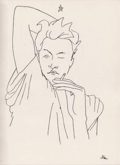 Jean Desbordes by Jean Cocteau. Le Sphinx, Jean Cocteau, Ligne Claire, Portrait Illustration, Japanese Prints, French Artists, Life Drawing, Art Forms, Art History