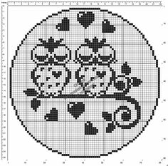 filet crochet Free crochet filet pattern round doily with owls in love 80 squares diameter Cross Stitch Owl, Cross Stitch Animals, Modern Cross Stitch, Cross Stitching, Crochet Patterns Filet, Crochet Diagram, Free Crochet, Cross Stitch Patterns, Crochet Birds