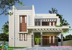 4 bedroom, 2375 square feet modern house plan architecture by Shell building designers, Thrissur, Kerala. 3 Storey House Design, Duplex House Design, Modern House Design, House Outer Design, House Front Design, Double Storey House Plans, Small Modern House Plans, House Elevation, Front Elevation Designs