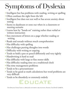 Symptoms of Dyslexia - Dyslexia Think Tank  Repinned by  SOS Inc. Resources  http://pinterest.com/sostherapy.