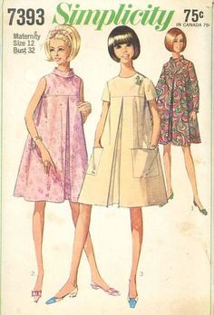 1960's Simplicity 7393 Maternity Retro Tent Dress Sewing Pattern Bust 32 ExC/VG #Simplicity #Casual