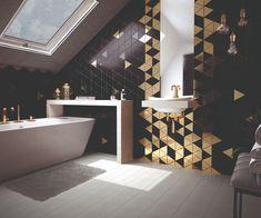Equipe ceramica Alhambra / Fan / Hexagon / Triangolo / Benzene carrelage triangle - carrelage or Hexagon Tile Bathroom, Mold In Bathroom, Bathroom Flooring, Bathrooms, Hexagon Tiles, Bathroom Mural, Bad Inspiration, Bathroom Inspiration, Toilet Design