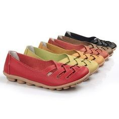 Women's Hollow Out Leather Flats| Upper Material: Leather Outsole Material: TPR Heel height: Flat Color: Black, Tan, White, Orange, Green, Red, Pink