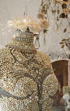 "Pink~ "" Vignettes Antiques"", dress form, mannequin , pearls lots of them!"